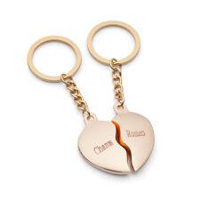 Geteiltes Herz GOLD Partner Schlüsselanhänger mit Wunschgravur Liebes Geschenk