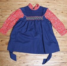 EUC Vintage Hand Smocked School Dress Blue & Red Calico Print Size 4T