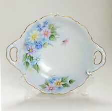 Austria Germany hand painted porcelain 2 handle scallop dish floral signed