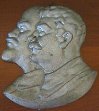 VINTAGE SOVIET BAS-RELIEF of  V. I. LENIN AND I.V. STALIN of light metal
