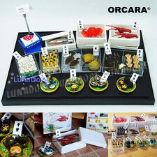 ORCARA Food Miniature Dollhouse Dream Seafood Fish Market Toy Figure Set of 8