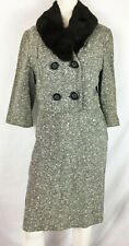 Vintage 50s Tweed Suit Fur Collar Boucle Pencil Skirt Crop Jacket