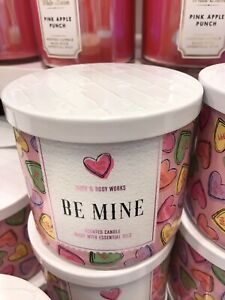 ONE (1) Bath & Body Works candle Candy Hearts Valentines LOVE ~cute BE MINE ~