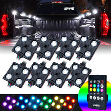 8pcs RGB 4 LED Pickup Truck Bed Rock Interior Strip Pod Light w/ Remote Control