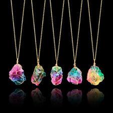 Rainbow Gem Stone Necklace Natural Druzy Quartz Clusters Geode Stone Pendants