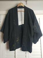 Vintage Kimono Traditonal Japanese Jacket Robe Geisha Black Tree Branches