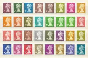 GB QEII 32 Decimal Machin Definitive Elliptical Stamps U/M