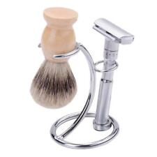 Salon Men Double Edge Safety Razor Set Mustache Beard Shaving Brush Stand Holder