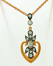 VINTAGE ART NOUVEAU 18K GOLD & ROSE DIAMONDS CHAIN PENDANT AN EXQUISITE NECKLACE