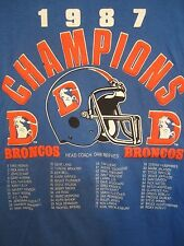 1987 Denver Broncos Champions T shirt with players names & coach Dan Reeves blue