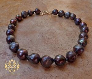 Deep Dark Grey Black Steel Genuine Freshwater Baroque Pearl Necklace