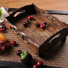 Wood Wooden Serving Tray Plate Tea Food Platter Home Decoration 31x 23x 12cm