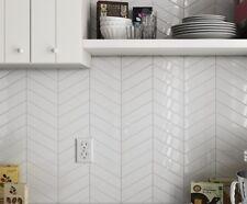 TILE SAMPLES: Nordic Snow White Gloss Chevron Arrow Left & Right Wall Tiles