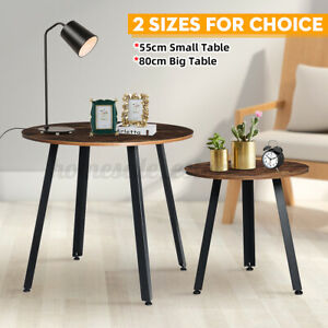 22in Rustic Round Coffee Metal Side Table Living Room Sofa Home Office