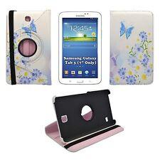 """caso blanco mariposa azul y Daisy estampado 360 para Samsung Galaxy Tab 3 7"""""""