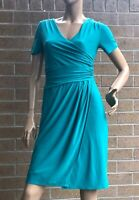 🌻 DIANA FERRARI SIZE XS GREEN JERSEY FIXED WRAP DRESS