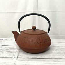 Cherry Blossom Relief Design Cast Iron Old Dutch Teapot Tea Kettle Red Black