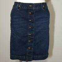 Talbots Dark Denim Button Front Pencil Jean Skirt Size 2