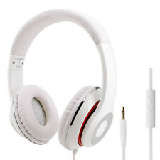 RockPapa DJ Headphones Mic Headsets for Computer DVD MP3/4 SmartPhone iPod White