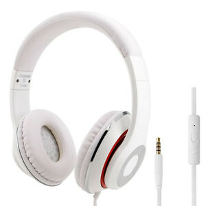RockPapa DJ Headphones Mic Headsets for Computer DVD MP3/4 SmartPhone iPod White