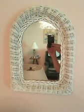 "Vintage Shabby Chic White Wicker Arched Wall Mirror 16"" x 12"""