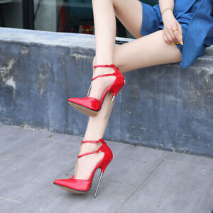 Sexy Super High Stiletto Nightclub Women Shoes Double Ankle Strap Buckle Sandals
