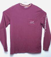 Vineyard Vines Womens SZ Small Long Sleeve T-Shirt Whale Logo Pocket Burgundy