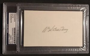 Bill Terry Autographed Signed Baseball Index Card PSA Slabbed Free Shipping 0450