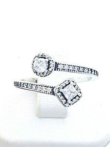 Authentic 925 Sterling Silver Adjustable Square Sparkling Ring Band jewelry