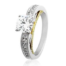 1 00006000 .50 Cts Cz Engagement Ring 925 Sterling Silver w/ Rose Gold Plate Lws-511E
