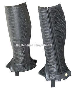 Black Genuine Leather with Mesh Gaiters - Kids