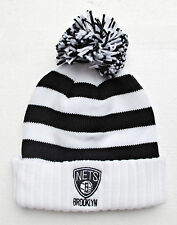 Brooklyn Nets White On Black Stripes Large Size Knit Beanie Cap Hat by Adidas