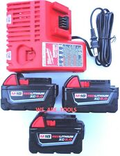 (3) New 18V Milwaukee 48-11-1850 5.0 AH Batteries, (1) Charger,  M18 18 Volt Red