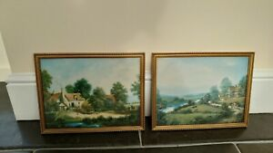 Pair of Country Landscape Pictures in Frames