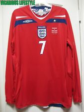 BECKHAM #7 England 100th Caps Long-Sleeves Away Shirt XL - v France 26.03.2008