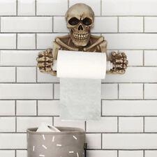 Grinning Skull Toilet Paper Holder Resin Skeleton Figurine Statue Home Decor