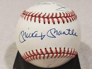Mickey Mantle Willie Mays Duke Snider Autographed Baseball Beckett LOA BAS