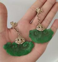 A Pair Chinese Antique Tibetan Silver Inlaid Natural Jade Earrings Lucky Jewelry