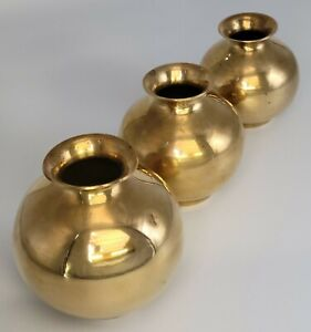"""Vintage Round Brass Vase Set of 3. Tallest is 4"""". Nice Condition. Pre-Owned."""