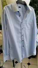 "PAUL SMITH Mens SIZE 17"" (chest 46"") 'Peace and Prosperity' Blue Striped"