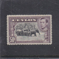 CEYLON-1938-KGVI 50c-PERF 14-SG 394c-MUH-$80
