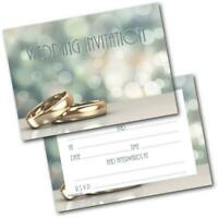 Wedding Day Invitations Two Rings Pack of 20 Invites & Envelopes