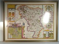 John Speed Map Darbyshire 1610 Reproduction Print Vintage Framed Glass SPEEDE