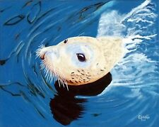 """Sea =""""SEALION""""  ORIG. OIL PAINTING BY ORPHIE BARELLA Great in any room Nice Gift"""