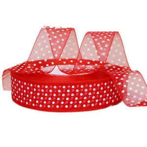 Christmas Organza Ribbon Red and White Polka Dot 25mm x 5m