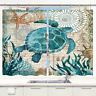Sea Turtle Window Curtain Treatments Kitchen Curtains 2 Panels with Hooks 55X39""