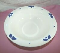 "Pfaltzgraff Blue Tulip 9 1/2""  Salad / Serving BOWL blue Florals on White"
