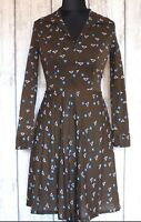 Vintage 60s/70s Fitted Long Sleeve Shirt Dress. Winter Geometric Button Retro