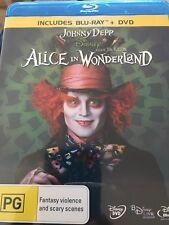 Alice In Wonderland - Johnny Depp - Disney - Like New - Region B - Blu Ray + DVD