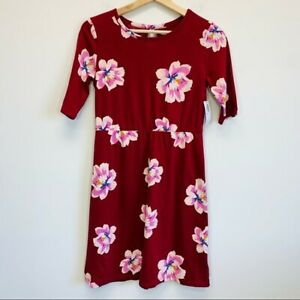 OLD Red Floral Keyhole Back A-Line T-Shirt Dress Girls XLarge XL NWT NEW